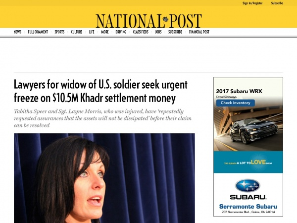 http://nationalpost.com/news/canada/relatives-of-slain-u-s-soldier-want-urgent-freeze-on-omar-khadrs-assets/wcm/6a5617d2-ad0b-47a8-9594-f15ef40f0af4
